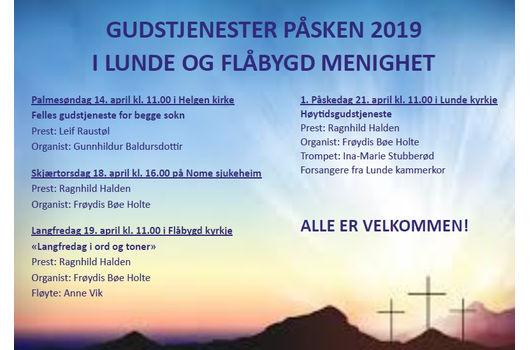 Velkommen til gudstjenester i påsken!