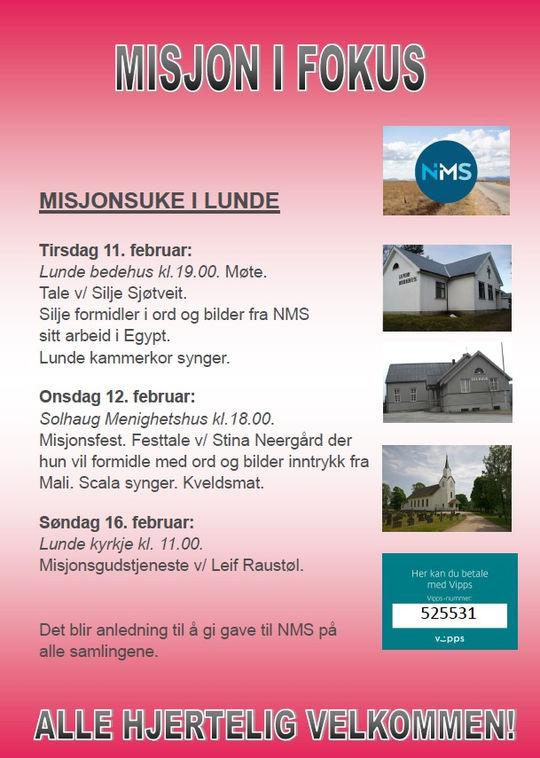 Misjonsuke i Lunde 2020